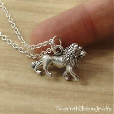 Silver 3D Lion Charm Necklace - Zoo African Safari Pendant Jewelry NEW