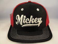 Mickey Vintage Disney Snapback Cap Hat Black Burgundy