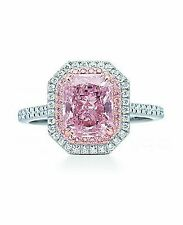 5 ct Vivid Pink Cushion Cut Halo Engagement Ring 925 Sterling Silver Sparkly New