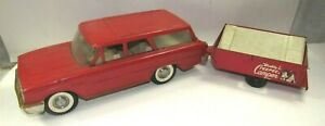 Vintage Buddy L Teepee Camper Tin Car and Trailer