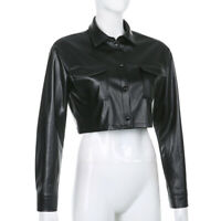 Women Faux Leather PU Crop Coat Short Jacket Long Sleeve Gothic Punk Black Lapel