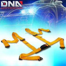 """UNIVERSAL 4-POINT 2"""" GOLD NYLON STRAP HARNESS SAFETY BUCKLE RACING SEAT BELT"""
