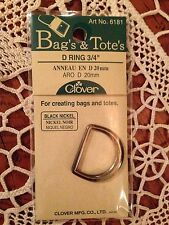 "Clover Bag's & Tote's Zinc Metal D Ring Handle Joint Black Nickel 3/4""  # 6181"