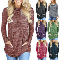 Womens Tunic Pullover Pockets Casual Blouse Clothes Sweatshirt Winter Loose Tops