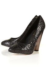 Topshop Black Glitter Court Heels Shoes UK 4 EURO 37 US 6.5 AUS 7 RRP £60 BNWB