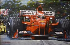 "DON CAMERON ORIGINAL ""Eddie Irvine winning the 1999 Australian GP"" F1 PAINTING"
