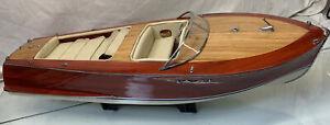 "Vintage 1960's RIVA 33"" Handmade Wooden Working Boat Model"