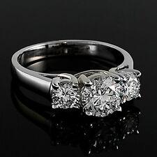 2.37 CT F/VS2 ROUND CUT REAL DIAMOND THREE STONE ENGAGEMENT RING 14K ENHANCED