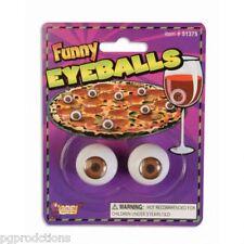 2 FUNNY EYEBALLS SET Joke Gag Drink Prank Halloween Balls Movie Puppet Eyes Prop