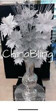Romany Silver Vase Mosaic Italian With Blingy White Silver Flower Lovely Display