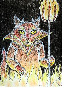 ACEO  Fantasy Original Devil (cat)