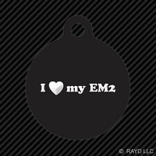 I Love my EM2 Keychain Round with Tab dog engraved many colors