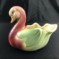 VINTAGE Shawnee Ceramic Pastel Green & Pink Swan Duck Planter Mid-Century Modern