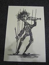 """PERY dominique Estampe """"Le premier violon"""" Marionnette 1997"""