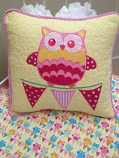 Hoot Hoot Girls Nursery Bedroom Owl Square Cushion Cover