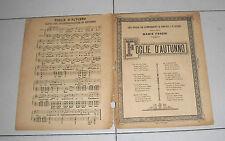Spartito FOGLIE D'AUTUNNO di Mario Foresi 1892 Pianoforte chitarra