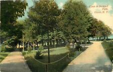 Utica New York~Summit Park~View Shows Fenced Grass~Bench~Water~1913~Po st Card
