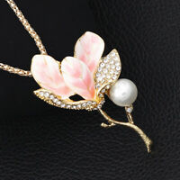 Betsey Johnson Enamel Crystal Magnolia Flower Pendant Chain Necklace/Brooch Pin