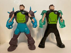 Ben 10 Transforming Ben To Diamondhead and Shock Rock Action Figures Flips Head