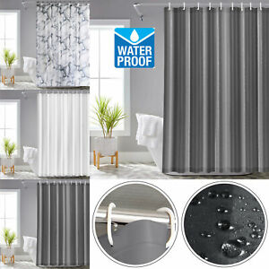 Ready Made Waterproof Anti-Mildew Resistant Fabric Shower Curtain With 12 Rings