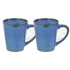 2pcs 250ml Stoneware Reactive Glazed Blue Gloss Mug Coffee Cup Mottled Speckled