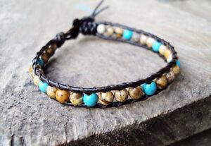 4mm stone Bracelets,Jasper bracelets,Turquoise bracelets,Leather bracelets,Men