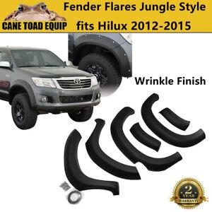 Jungle Fender Flares Wheel Arch fit Toyota Hilux 2012-2015 Matte Black Rough Fin