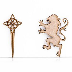 Wooden MDF Scottish Lion Scotland Emblem Celtic Design 3mm Thick Embellishment