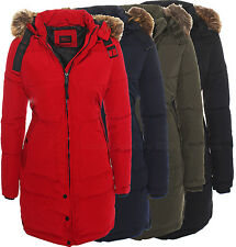 DV-065 Damen Warmer Wintermantel Winter Stepp Mantel Jacke Lang Parka Kunstpelz