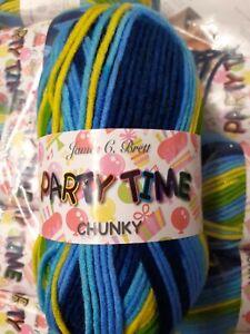 James C Brett - Partytime Chunky Yarn - 100g ball - multi/blue/yellow