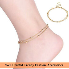 Gold Double Layer Foot Chain Beads Anklet Trendy Boho Style Barefoot Jewelry