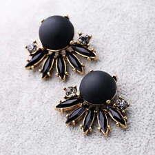 Vintage Black Stone Beads Fan Fringe Shaped Stud Earrings Christmas Jewelry