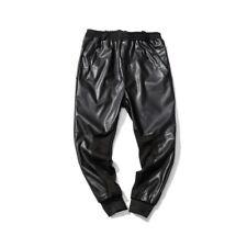 Men's Harem Pants Splice Faux Leather Elastic waist Slacks Trousers Outdoor D