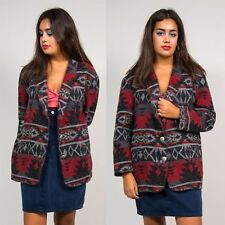 90'S VINTAGE GREY & RED WOMENS TAPESTRY BLAZER JACKET JACQUARD AZTEC PRINT 16