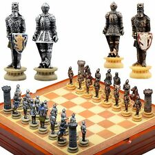 Chess Set. Medieval Knights Resin Chess Pieces Wood Board and Storage For Pieces