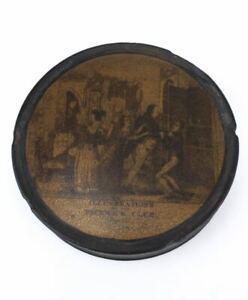 Antique Victorian Dickens Pickwick papier mâché snuff box case tobacconalia