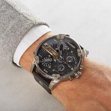 Diesel DZ7348 Mr Daddy Herrenuhr Armbanduhr Chronograph Edelstahl Leder Schwarz