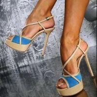 Women Shoes Peep Toe High Heels Platform Sandals Cross Strap Ankle Buckle Party