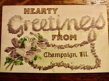 Antique postcard Champaign Illinois large floral letters embossed greeting