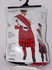 Size Small Men's Red Plaid Scottish Kilt Costume Cosplay Halloween Sexy Costume