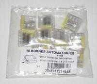 Lot x10 Raccords Bornes Eléctrique Automatique WAGO 4 Entrées Câble 1 à 2,5 mm²