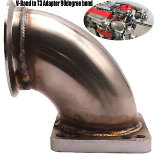 """3.0"""" 90 Degree Stainless Steel Turbo Elbow Adapter Flange Fits T3 Turbocharger"""