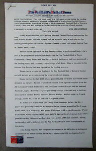 Pro Football Hall of Fame original JOE PERRY 1969 Press News Release 7-pages