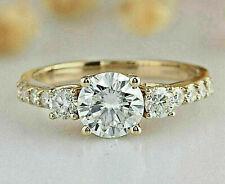 3.05 ct Round cut Three Stone Diamond Engagement Ring Solid 14K Yellow gold