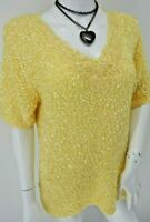 Pale Yellow Short Sleeve Sequin Embroidered Jumper 16 Festival Boho Hippy