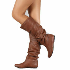 New Womens Slouch Boot Flats Long Boots Pointed Toe Knee High Length Shoes Size