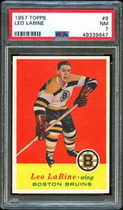 1957 Topps Hockey #9 Leo Labine, Boston Bruins.  PSA 7.