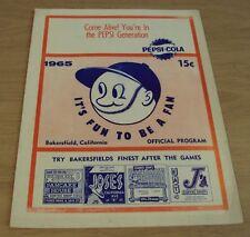 "1965 'Official Program' MINOR LEAGUE Baseball~""BAKERSFIELD BEARS""~"