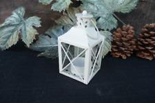 WHITE Mini Metal LANTERN ~ Tea Light tealight Candle Holder ~ Centerpiece