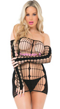 Sexy Womens Fishnet Solid Dress Lingerie Sleepwear Body Stocking Playsuit+Gloves